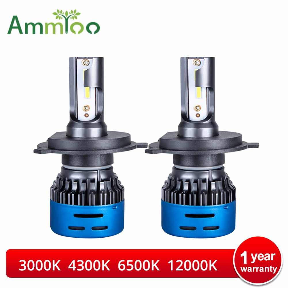 AmmToo Car Headlight H7 LED H4 LED H1 H8 H11 9005 9006 HB3 HB4 9600LM 12V Auto Headlamp Fog Light Bulb 3000K 4300K 6500K 12000K