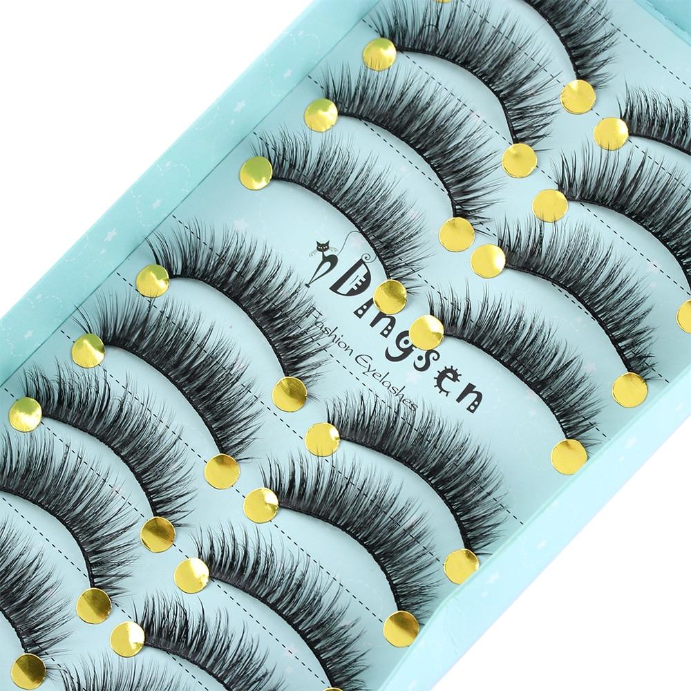93f15cc3833 10 Pairs Natural Long False Eyelashes 3D Faux Mink Hair False Eyelashes  Handmade Lashes Extensions Cross