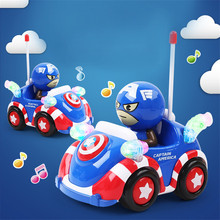 Disney Avengers Kids Boys Xmas Birthday Gift American Captain Figure RC Car Electric Juguetes Model Toys Marvel with Light Music