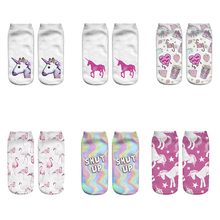 DeanFire New Arrival Kawaii Flamingo Unicorn Socks 3D Printed Cartoon Womens Low Cut Ankle Novelty Casual