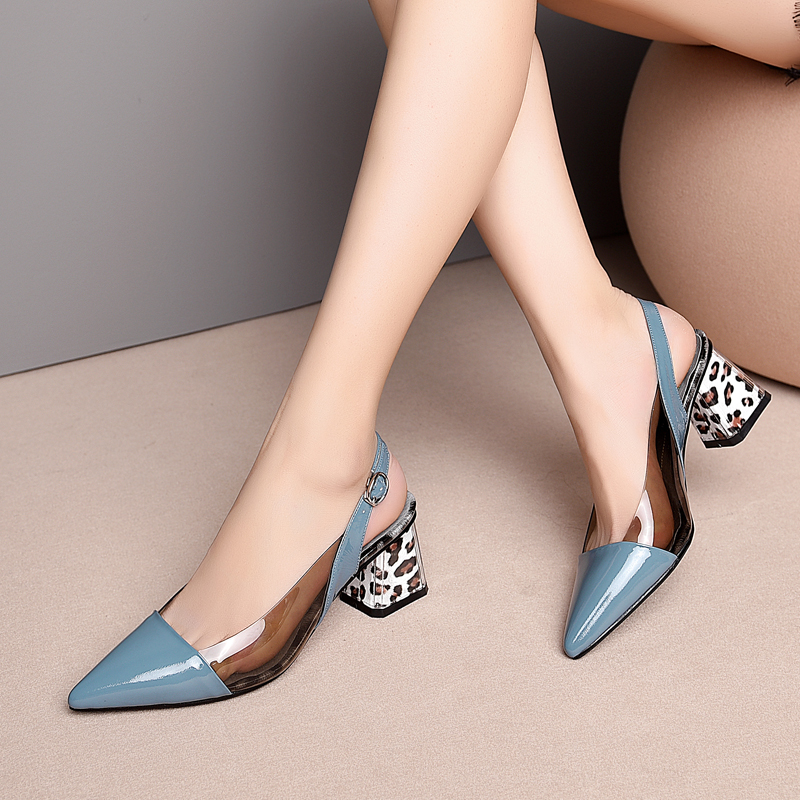 Women Genuine Leather High Heels Pointed Toe Clear PVC Sexy Heel Shoes Sling Back Pumps Kitten Footwear