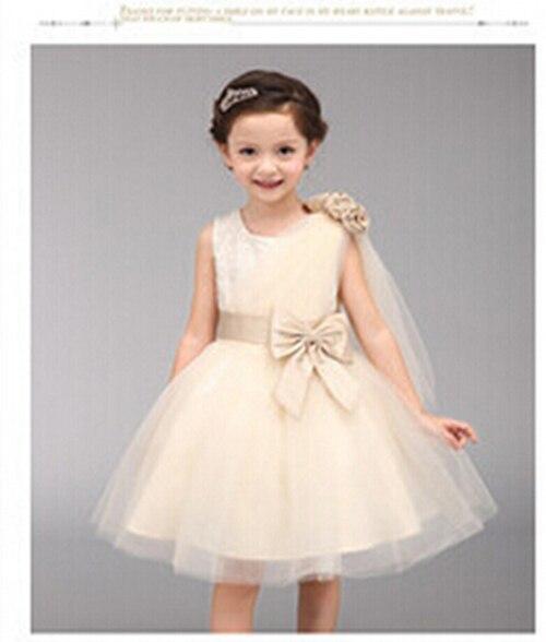 2016 Bow Shoulder Gauze Sequined Flower Children Princess