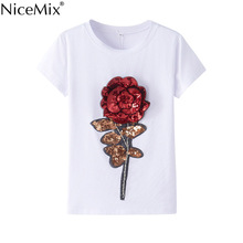 NiceMix 2017 Sequin T-shirt Women Kawaii Short Sleeve T Shirt 3D Rose Flower Sequined Harajuku Cotton TShirts Tops 29023