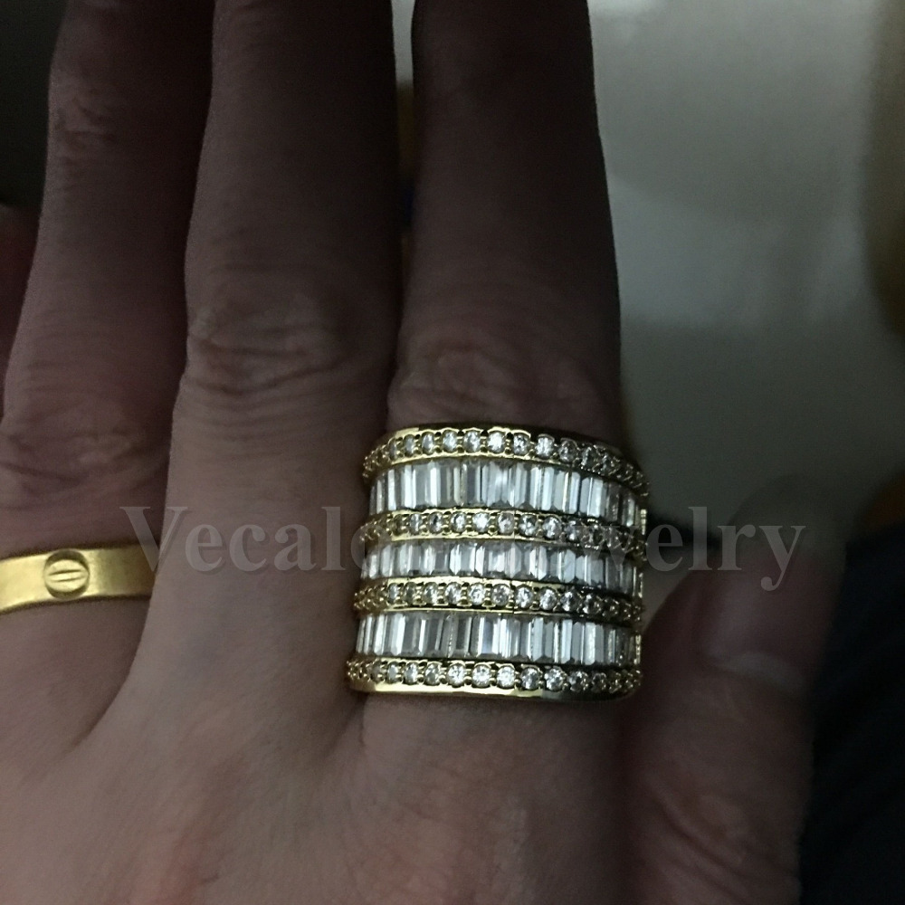 Vecalon luxe femmes bague en or jaune rempli AAAAA Zircon Cz 925 en argent Sterling gros bijoux de fiançailles bague de mariage - 6