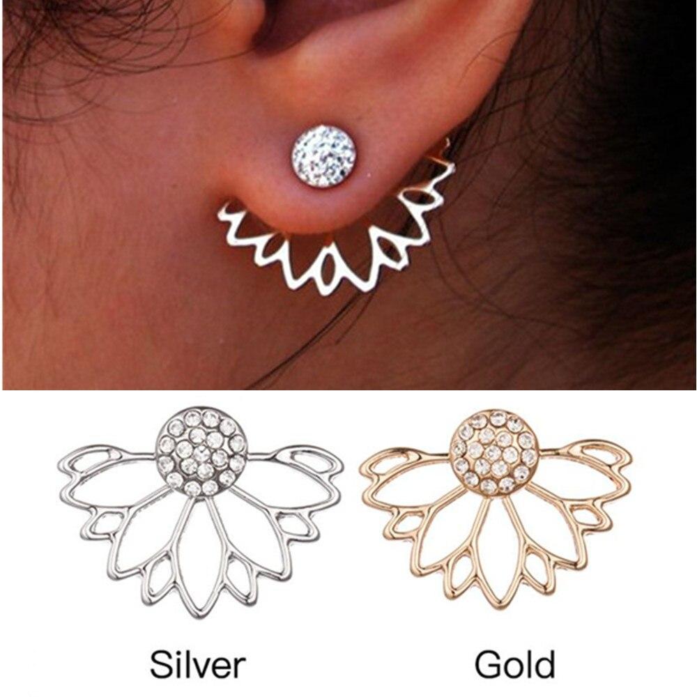 Es300 Flower Back Cuff Stud Earrings Full Crystal Lotus Ear Jacket Earrings  For Women Statement Jewelry
