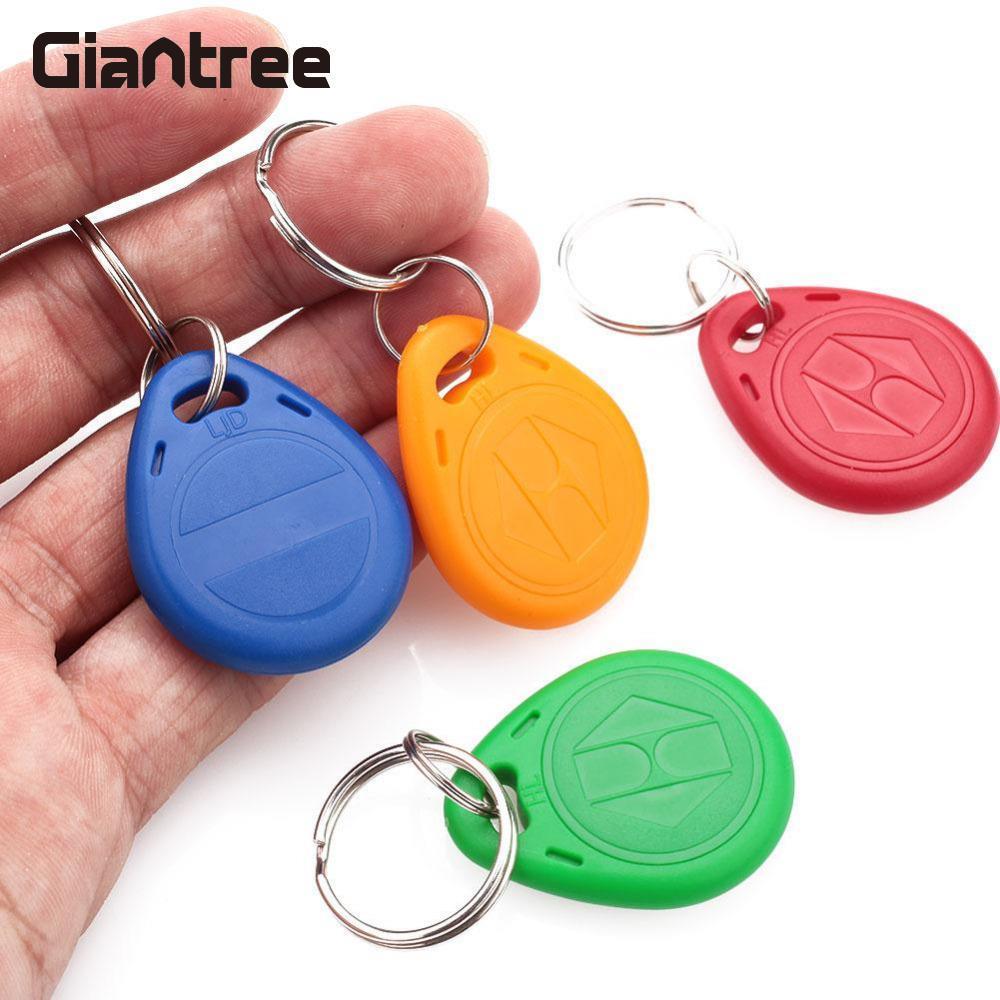 Giantree 50pcs 125KHz RFID Proximity Keyfobs EM4305 Token Key Tags Access Control Key Fob Keyring rfid key fob 13 56mhz proximity abs ic tags fm1108 1k tag door lock access controller token