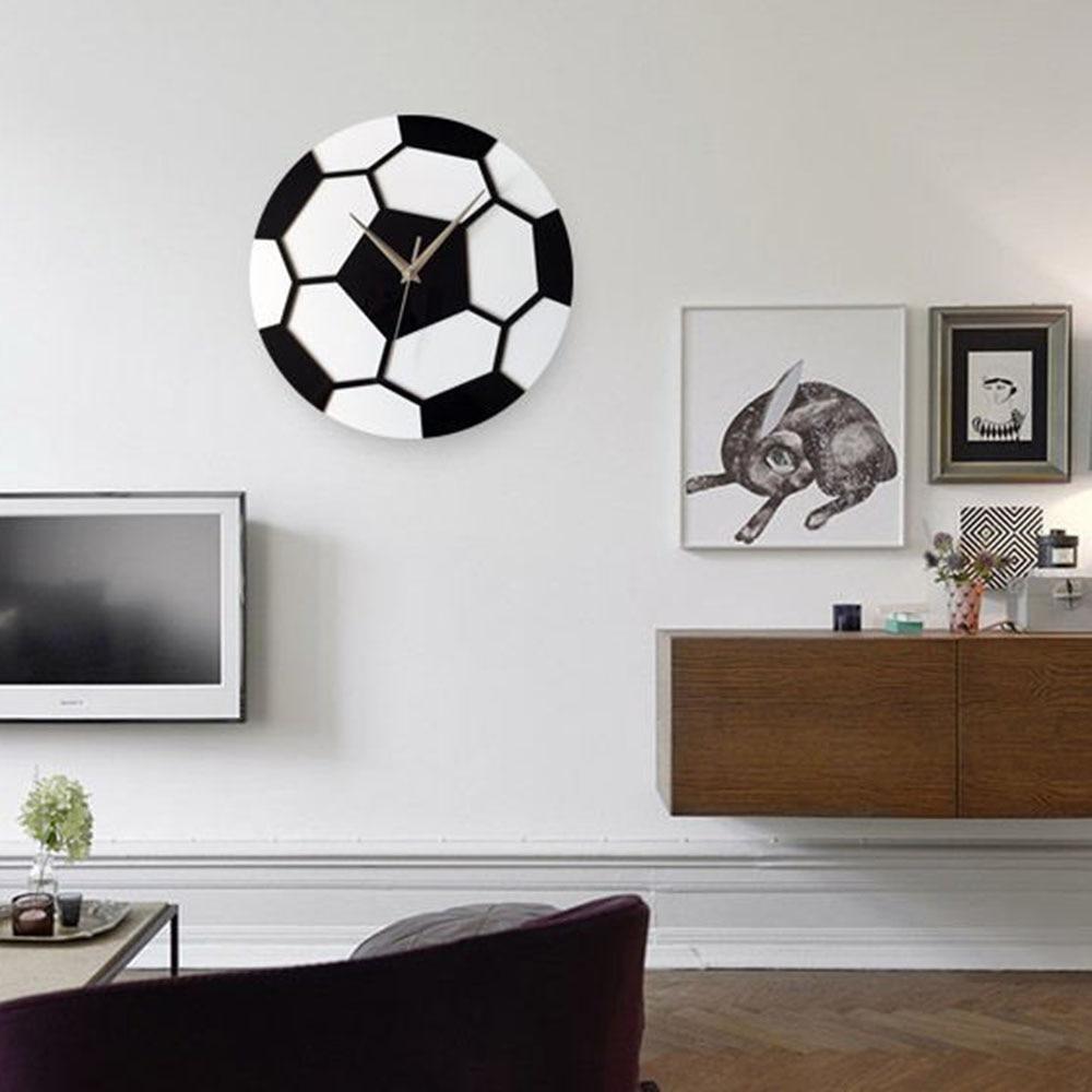 12 Inch Minimalist Soccer Wall Clock Bedroom Mute Round Clock Living ...