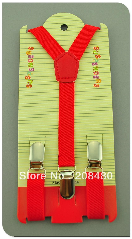Free Shipping-1.5x65cm Red Kids Suspenders Children/Boys/Girls Suspender Elastic Braces Slim Suspenders-Wholesale & Retail