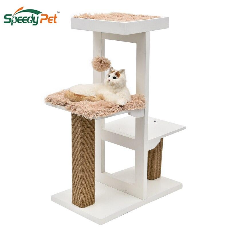 Arbre d'activité de chat de luxe avec griffoir Post boîtes de Cube de chat maison avec coussin amovible chaud doux drôle chat jouets meubles