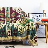 Vintage Tassels Dark Green Woven Soft Sofa Blankets Throws Rugs Sofa Cover Chair Cover Table cover Print Home Decor 180x220cm