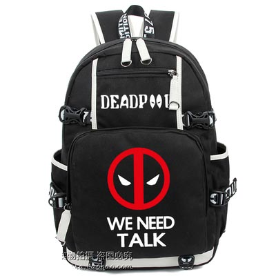 American European Marvel Deadpool Backpack Hero Cosplay Luminous Canvas Bag Schoolbag Travel Bags