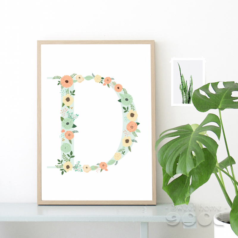 Floral monogram nursery Letter D Art Print Art Print painting Poster, Wall Pictures for Home Decoration Wall Decor, FA239-2