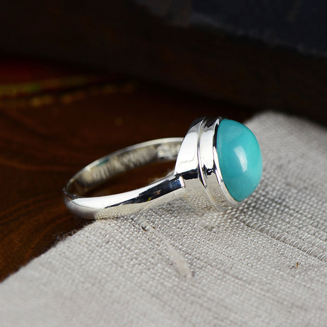 Natural Turquoise Ring 925 Sterling Silver anillos Blue Stone S925 Thai Silver Rings for Women Jewelry
