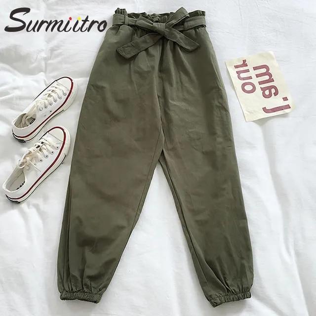 Surmiitro Cotton Ankle Beam Pants Women 2019 Fashion Loose Ladies Korean Harajuku High Waist Harem Pants Female Trousers Femme