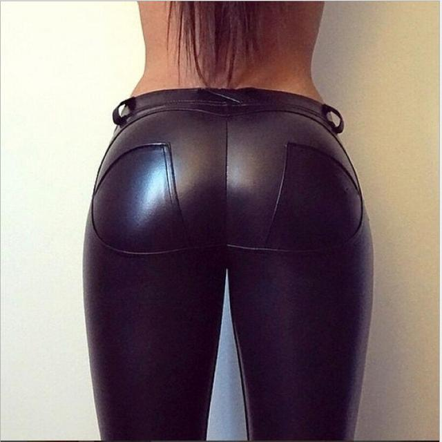 PU Leather Butt Lifter Low Waist Legging 10