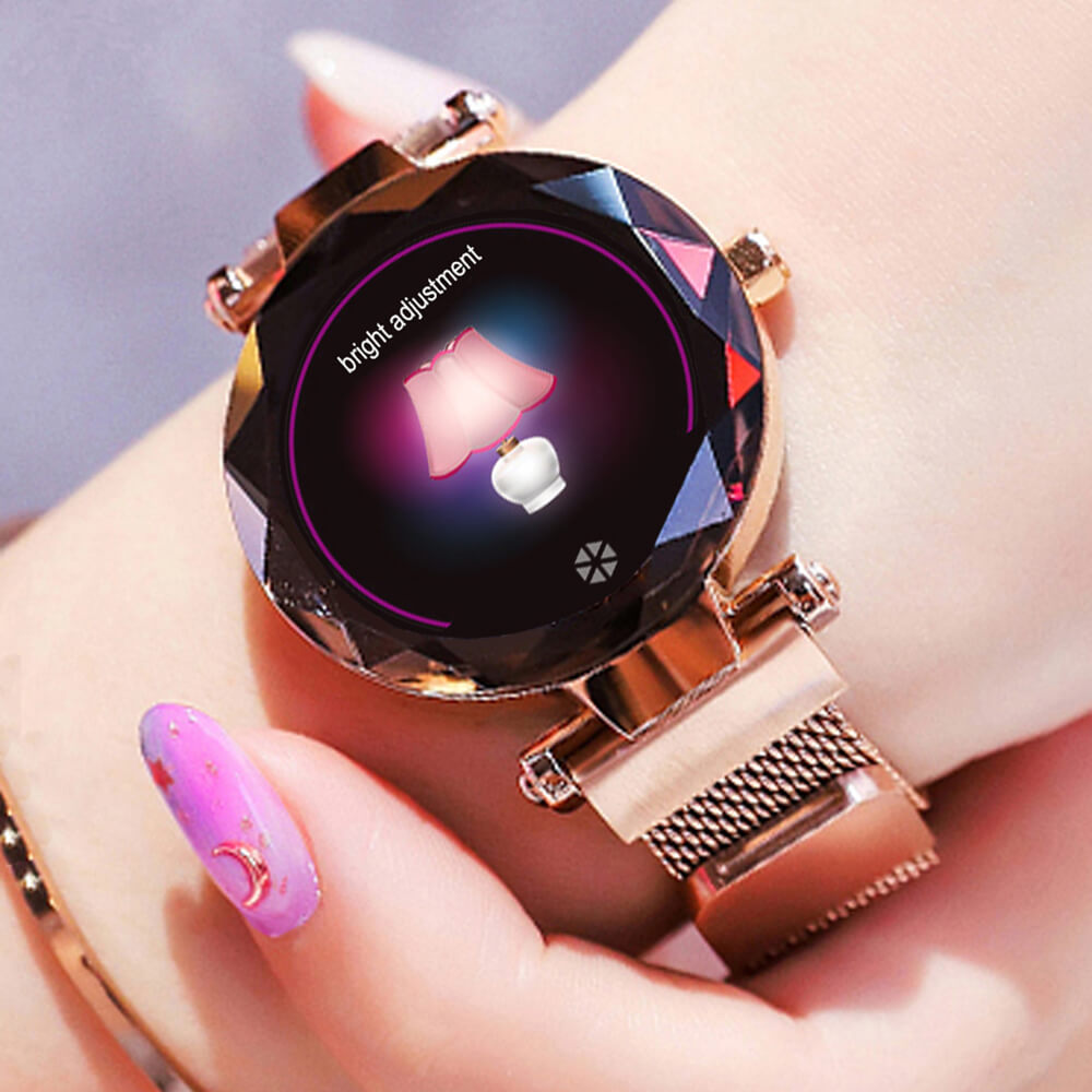 HI18 montre intelligente femmes Smartwatch hommes femme Bracelet intelligent en métal Bracelet magnétique cristal doré violet bleu ajouter protecteur d'écran