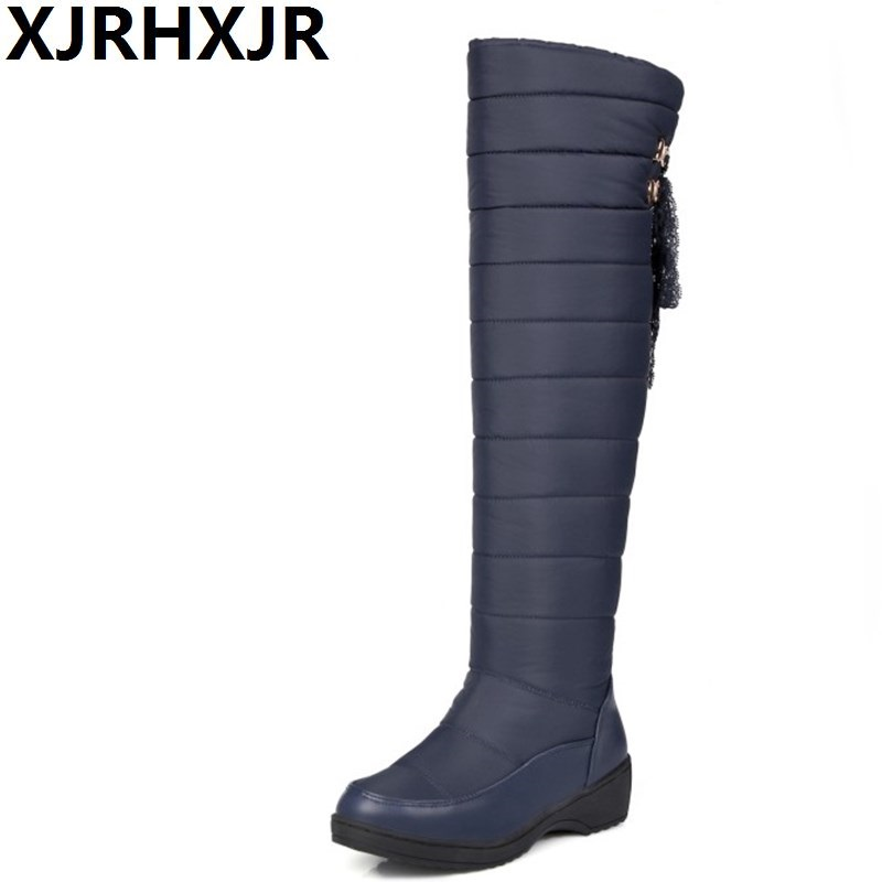 XJRHXJR Plus Size 35-44 New Warm Down Snow Boots Round Toe Platform Thigh High Boots Women Over The Knee Boots Winter Botas thigh high over the knee snow boots womens winter warm fur shoes women solid color casual waterproof non slip plush wedges botas