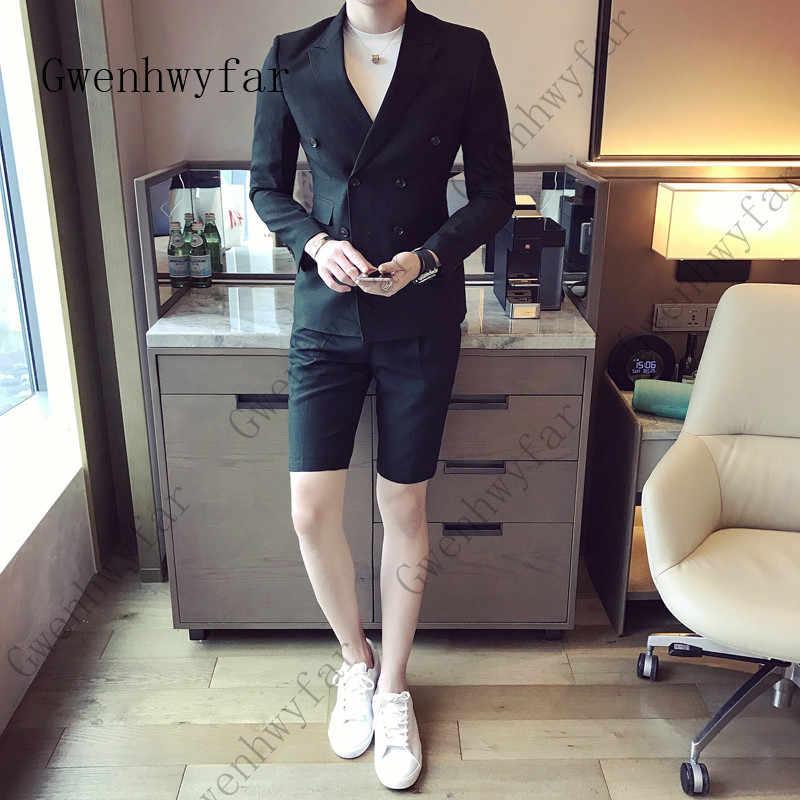 夏スタイル白人男性半袖スーツパンツ 2 ピース (ジャケット + パンツ) 結婚式のウエディングカジュアルスタイルスリム新郎タキシードブレザー