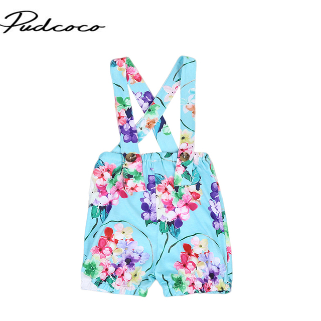 7817210c09c 2017 Summer Floral Toddler Kids Girls Overalls Sleeveless Halter Jumpsuit  Backless Crossed Romper Baby Clothes Outfits Sunsuit