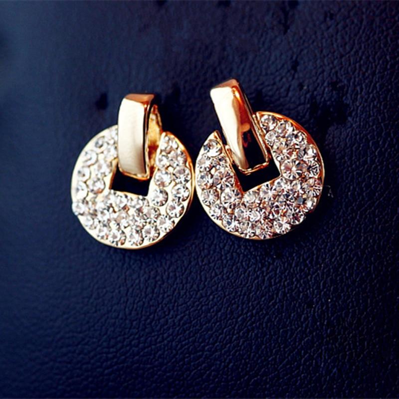 2018 New Fashion Coins Disc Rhinestone Circle Earrings Jewelry Accessories Wholesales Elegant luxury crystal stud earrings