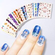 1 Set 45 PCS Christmas Water Transfer Nail Stickers Decal Snowflake Bells Mix Designs Printing Art Charm