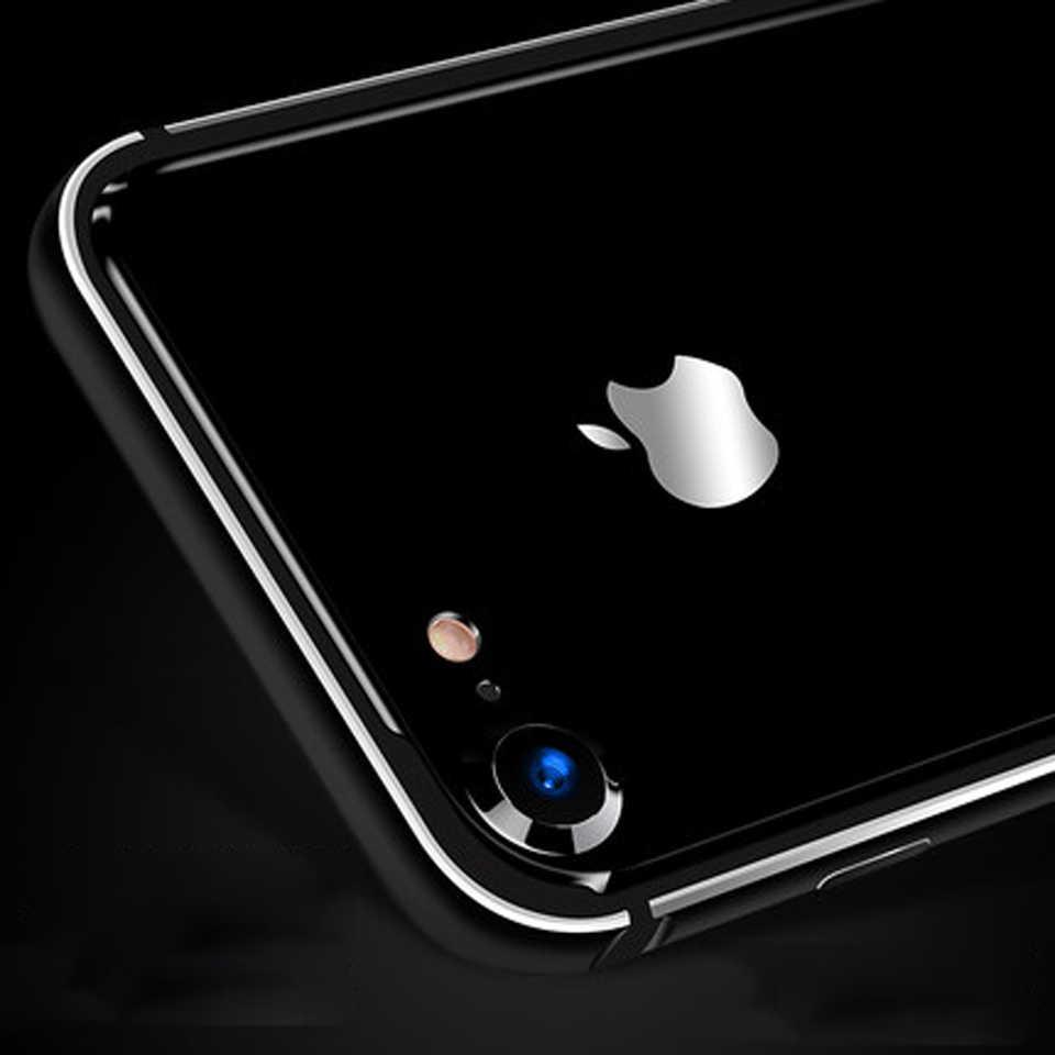 فاخرة 2 في 1 الألومنيوم + السيليكون الهجين لينة الوفير ل iphone 7 SE 5 5 6 6 ثانية ثانية زائد حالة غطاء ماتي أسود إطار على الهاتف حالات
