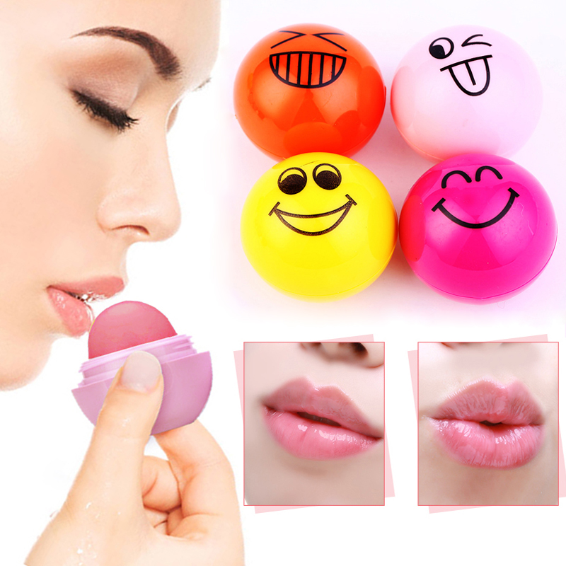 Romantic Bear New Fashion Face Expression Cute Ball Lip Balm Lipstick Beauty Lips Moisturizer Round Fruit Lip balm Makeup