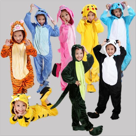 Kids Pajamas Cosplay Cartoon Animal Onesie Sleepwear Tiger Stitch Bear Panda Pokemon Pikachu Dinosaur Totoro