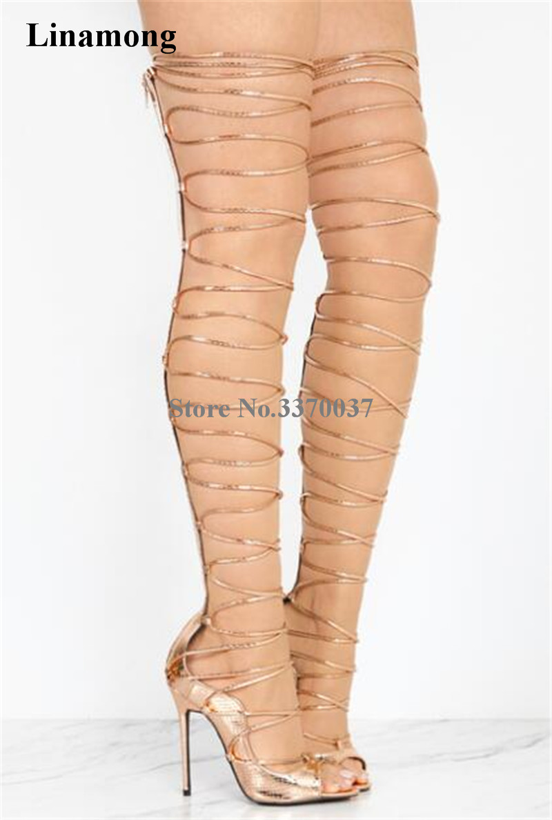 2018 New Fashion Women Open Toe Gold Black Lace up Over Knee Gladiator Boots Straps Design