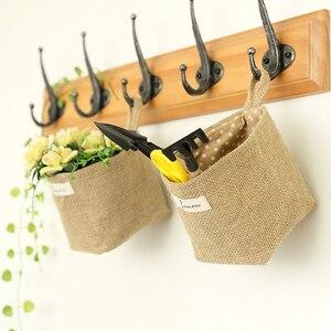 Image 2 - Cesta de almacenamiento de bolsillo colgante para decoración del hogar, saco pequeño, organizador de artículos diversos, organizador de cosméticos, bolsa de almacenamiento de lino y algodón
