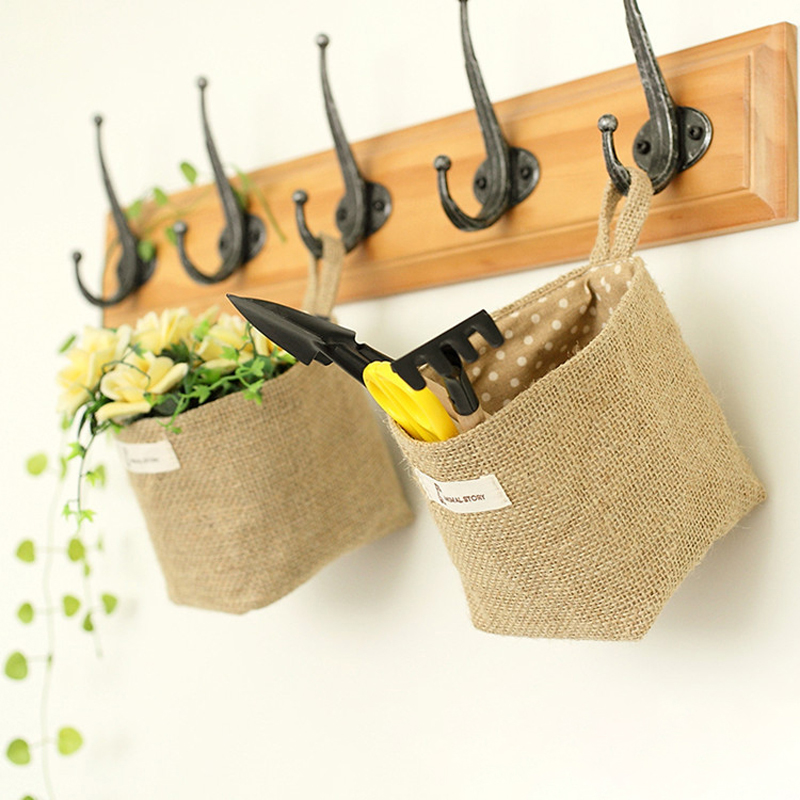 Image 2 - Home Decor Hanging Pocket Storage Basket Small Sack Sundries Organizer Cosmetic Organizer Cotton Linen Storage Bag-in Storage Baskets from Home & Garden