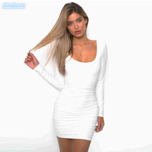 купить Women Dress Backless Long Sleeve Wrap Bodycon Low Cut Sexy Club Dress Women White Black Mini Party Backless Dresses Ladies по цене 861.69 рублей