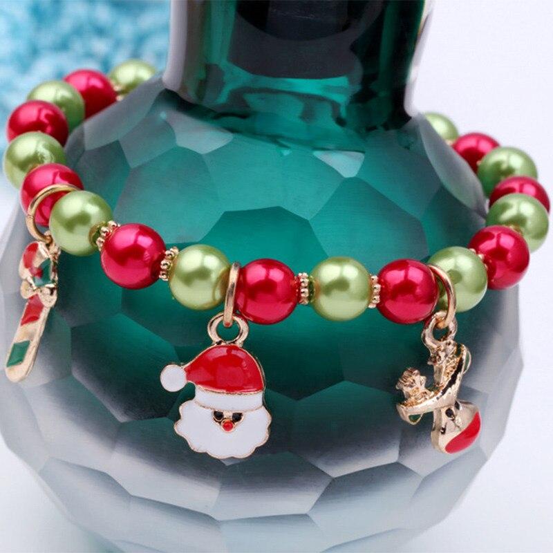 KLEEDER Christmas Charm Bracelet For Women Kids Kawaii Snowman Hand Link Chain Colorful Beads Party Bracelets Fashion Jewelry