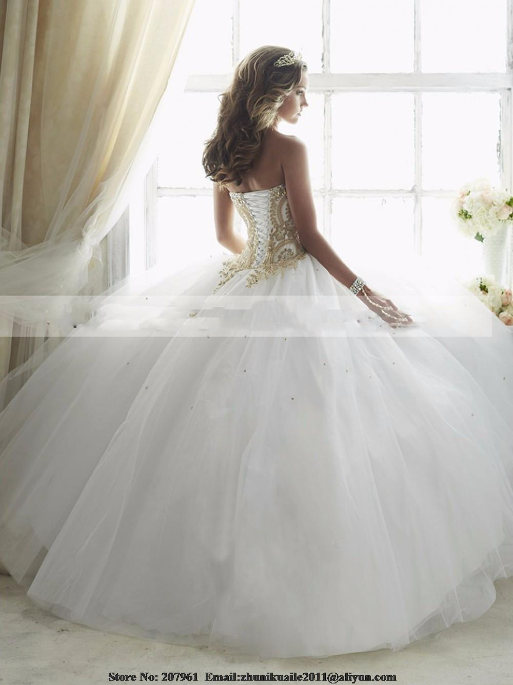 gold and white quinceanera dresses