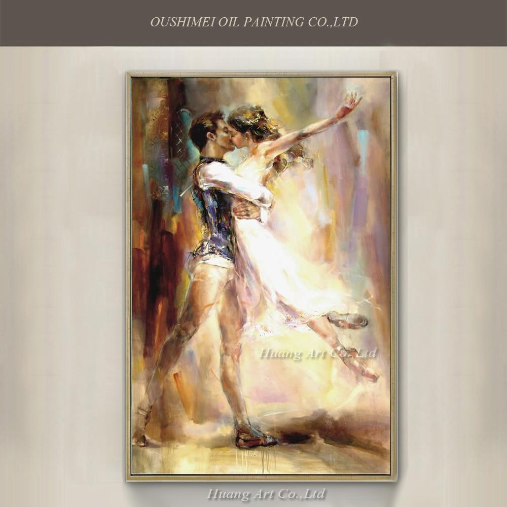 HQ Handmade della Tela di canapa Spanish Dancer Pittura Lover Tango Dancer Figura Impressione Pittura A Olio Immagini A Parete per Soggiorno