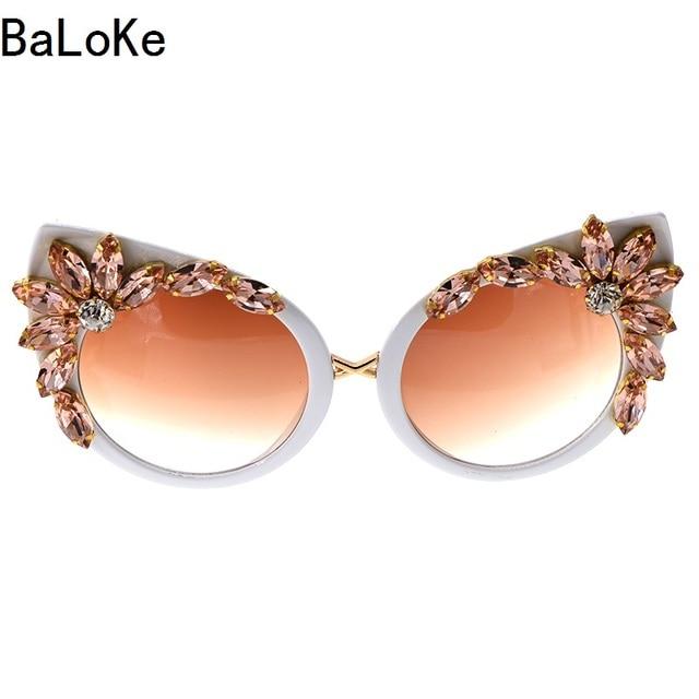 cd1b861b645c 2018 Baroque Style Fashion Women Cat Eye Crystals Sunglass Decoration Retro Sunglasses  Bling Rhinestones Women Sun