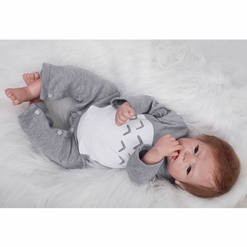 Здесь продается  Rooted Mohair Reborn Baby Dolls 22 Inch 55 cm Newborn Babies Lifelike Real Touch Doll Toy With Gray Clothes Kids Birthday Xmas   Игрушки и Хобби