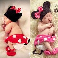Mickey minnie neonato photography puntelli handmade del bambino del crochet del knit costume (hat + skirt + short + scarpe) set neonata fotografia puntelli