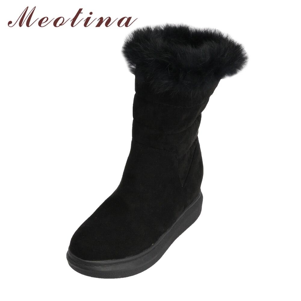 Meotina Women Snow Boots Platform Hidden Heels Mid Calf Boots 2018 Winter Real Fur Increasing Heel Shoes Apricot Big Size 34-43 new fashion winter boots wool flock shoes women boots platform thick high heels mid calf boots two swear big size 34 43 0715