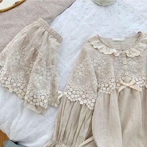 Image 5 - Summer Soft Linen Womens Pajamas Sets Sweet Shorts Pajamas Vintage Long Sleeve Sleepwear Autumn Nightwear Plus Size
