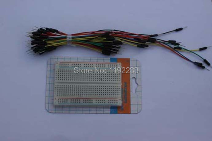 10pcs/lot Mini Solderless 400 Point Breadboard + 65pcs Jumper Line