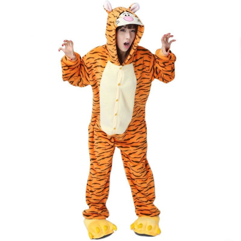 Adult Flannel Pajamas Cosplay Cartoon Animals Tiger Cartoon Cute Animal Onesie Pyjama Set Tiger Sleepsuit Yellow Soft sleepwear