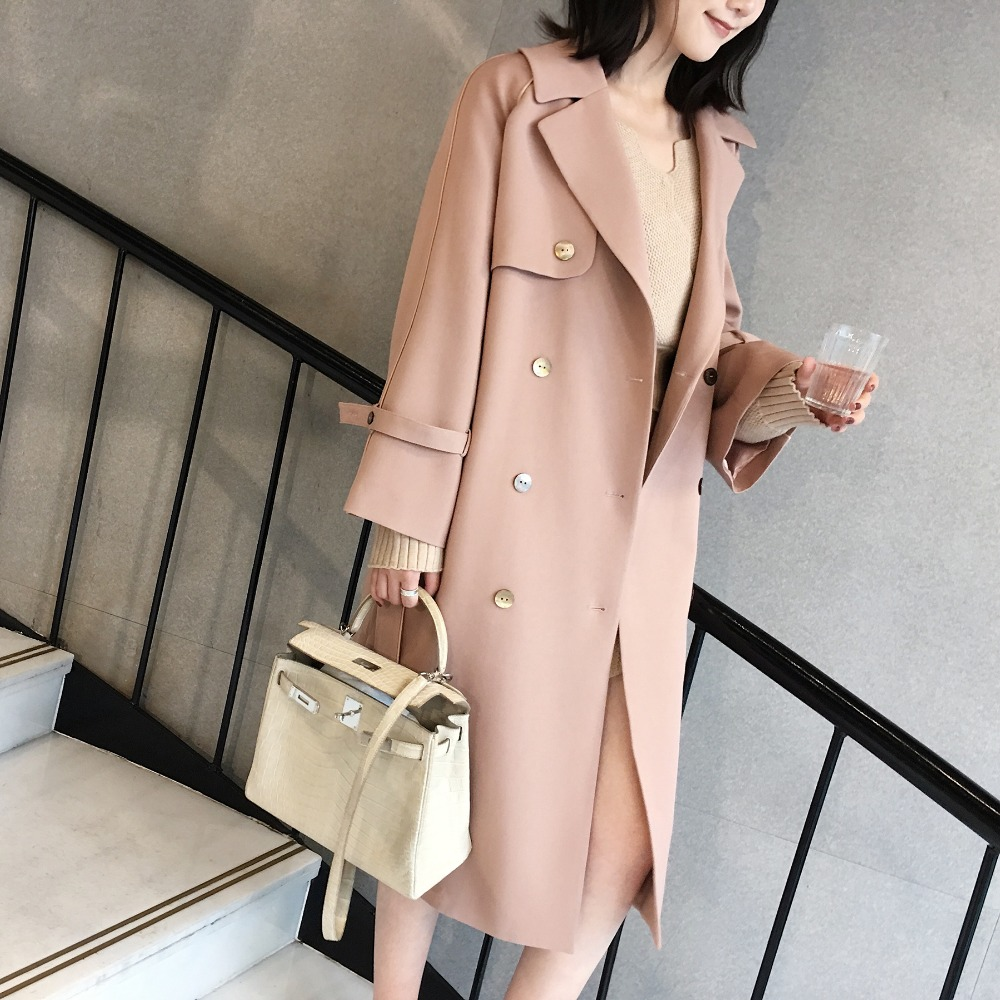 Coat Outwear Longues Poche Suede Pardessus En D'hiver Automne Bas Casual Femelle Le pink Cuir Femmes Manteau Vers Beige Sash Tournent Chaud Trench PwWqnTYpU8