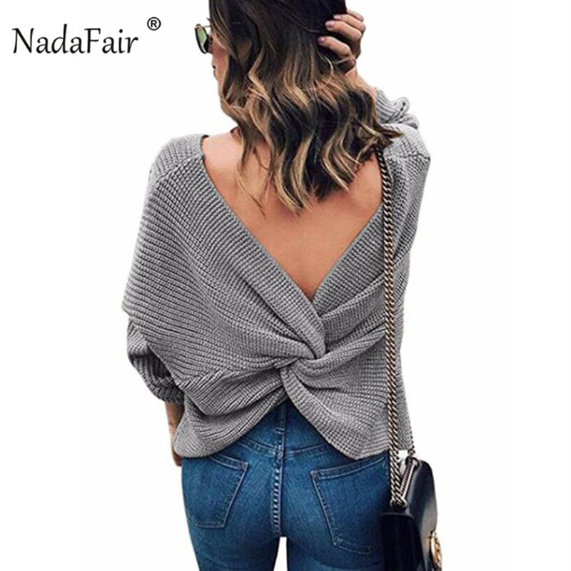 Nadafair sexy backless criss cross sweater women pullovers autumn winter long sleeve solid casual sweater female knitted jumper