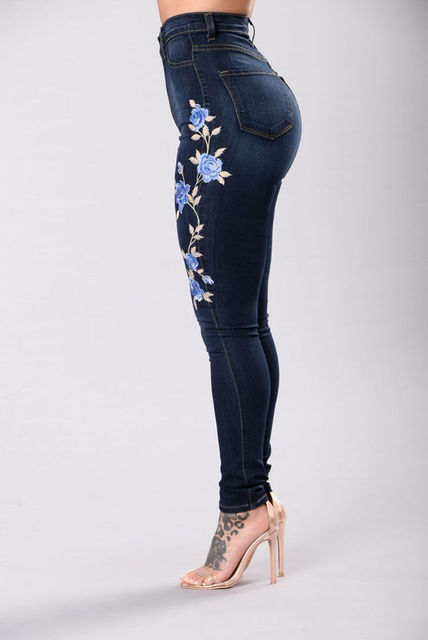 Women Floral High Waist Pencil Jeans Ladies Stretch Elastic Denim Jeans Trousers Flower Embroidered Denim Pants