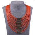2017 Long Multi layer Necklace Leather Statement Necklace Gold Big Maxi Necklace Women Lady Chokers Nickel Free Jewelry