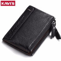 KAVIS Men Wallet Cowhide Genuine Leather For Vintage Small Thin With Zipper Coin Purse Male Magic