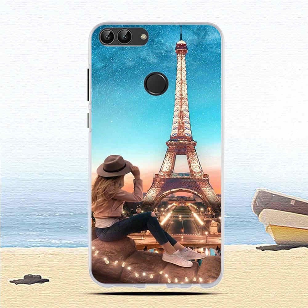 Nuevo para Huawei P funda inteligente de silicona suave parte posterior transparente fundas de teléfono para Huawei P Smart Cover FIG-LX1 Enjoy 7S funda