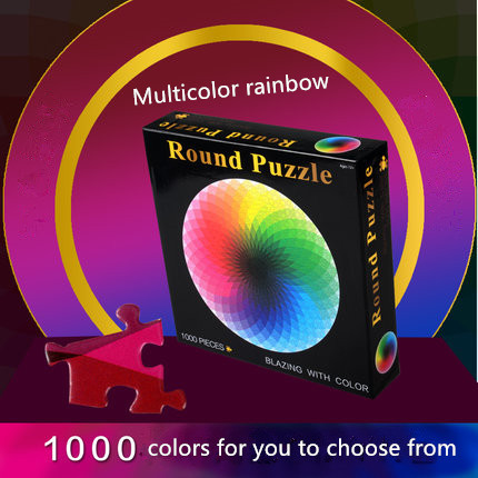 1000 pcs/set Hot Selling Colorful Rainbow Round Geometrical Photopuzzle Adult Kids DIY Educational Toy Jigsaw Puzzle Paper