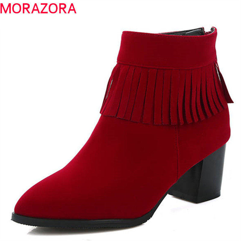 MORAZORA 2018 new arrival boots women round toe short plush ankle boots zipper flock Tassels fashion shoes high heels boots
